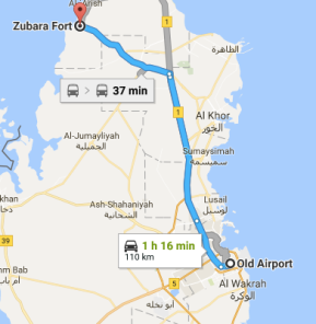 Direction from the city to Zubarah Fort